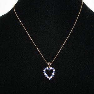 """Vintage gold sapphire CZ heart necklace 18"""""""